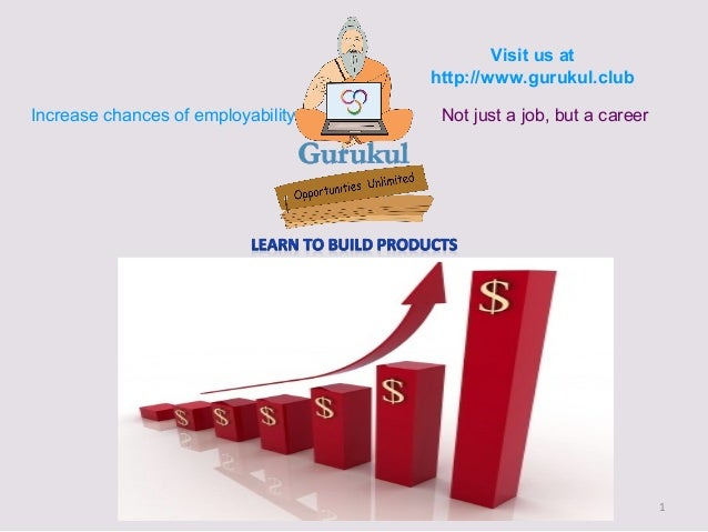 1 Visit us at http://www.gurukul.club Increase chances of employability Not just a job, but a career