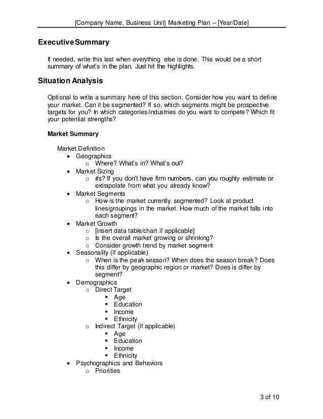 Complete Marketing Plan Template Word Format