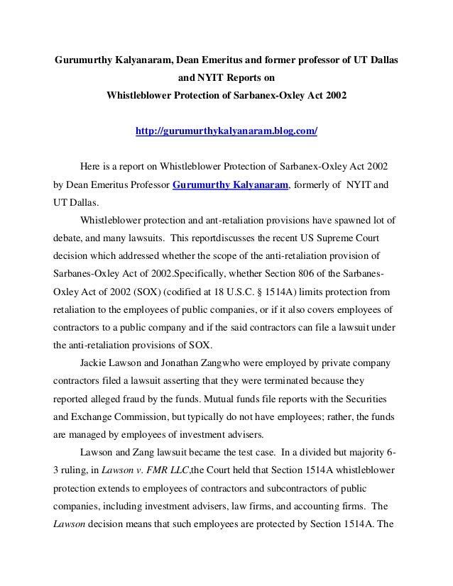 Gurumurthy Kalyanaram, Dean Emeritus and former professor of UT Dallas and NYIT Reports on Whistleblower Protection of Sar...
