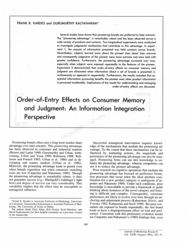 Gurumurthy Kalyanaram on Entry and Consumer Preference in Journal Marketing Research