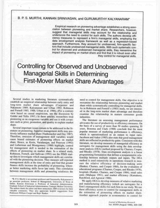 Gurumurthy Kalyanaram on Managerial Skills in Journal of Marketing Research