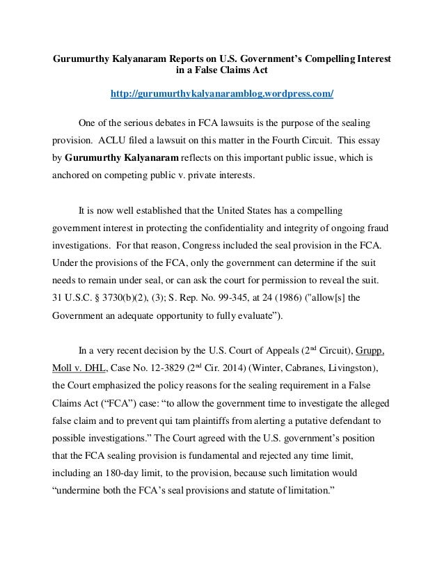 Gurumurthy Kalyanaram Reports on U.S. Government's Compelling Interest in a False Claims Act http://gurumurthykalyanarambl...