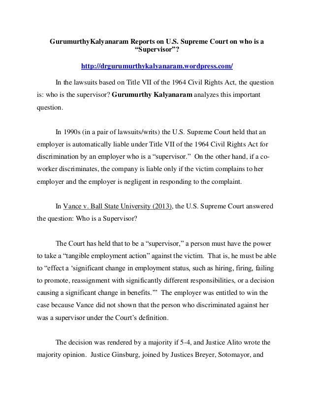 """GurumurthyKalyanaram Reports on U.S. Supreme Court on who is a """"Supervisor""""? http://drgurumurthykalyanaram.wordpress.com/ ..."""