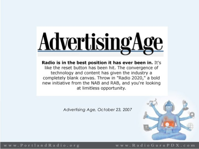 The indisputable, prove facts… 235,000,000 People reached by Radio every week Advertising Age, October 23, 2007