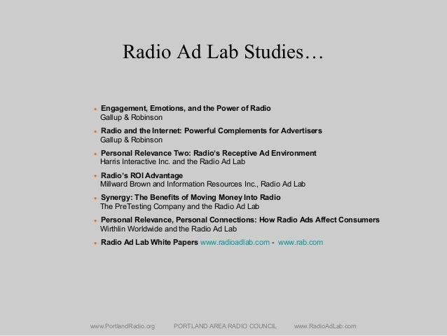 Radio Ad Lab Studies… www.PortlandRadio.org PORTLAND AREA RADIO COUNCIL www.RadioAdLab.com • Engagement, Emotions, and the...