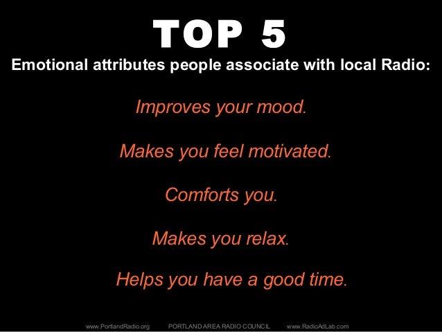 TOP 5 Emotional attributes people associate with local Radio: www.PortlandRadio.org PORTLAND AREA RADIO COUNCIL www.RadioA...