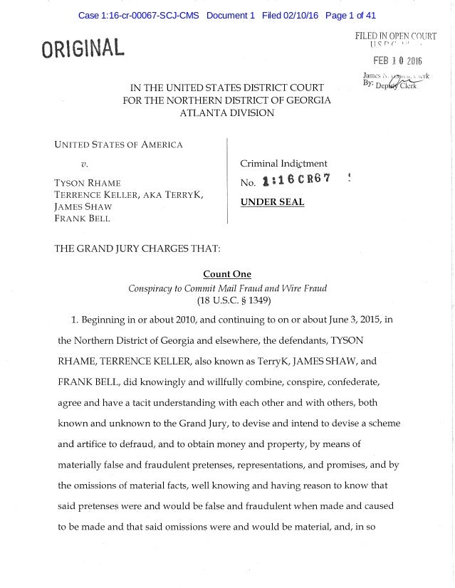 ORIGINAL IN THE UNITED STATES DISTRICT COURT FOR THE NORTHERN DISTRICT OF GEORGIA ATLANTA DIVISION FILED IN OPEN COURT FEB...