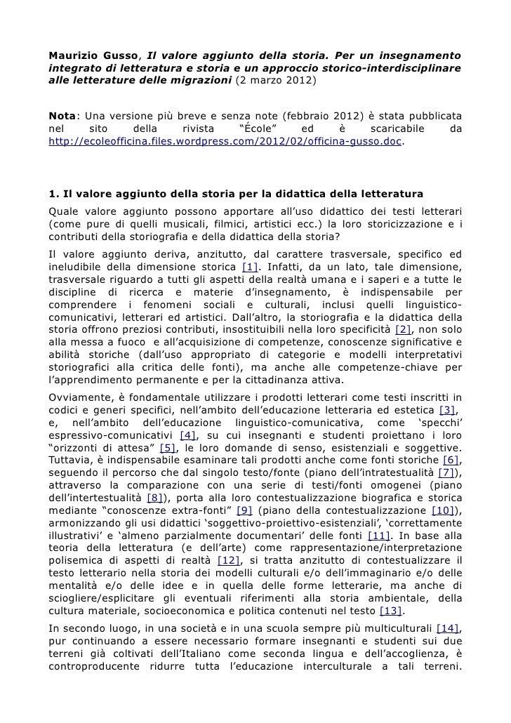 Maurizio Gusso, Il valore aggiunto della storia. Per un insegnamentointegrato di letteratura e storia e un approccio stori...