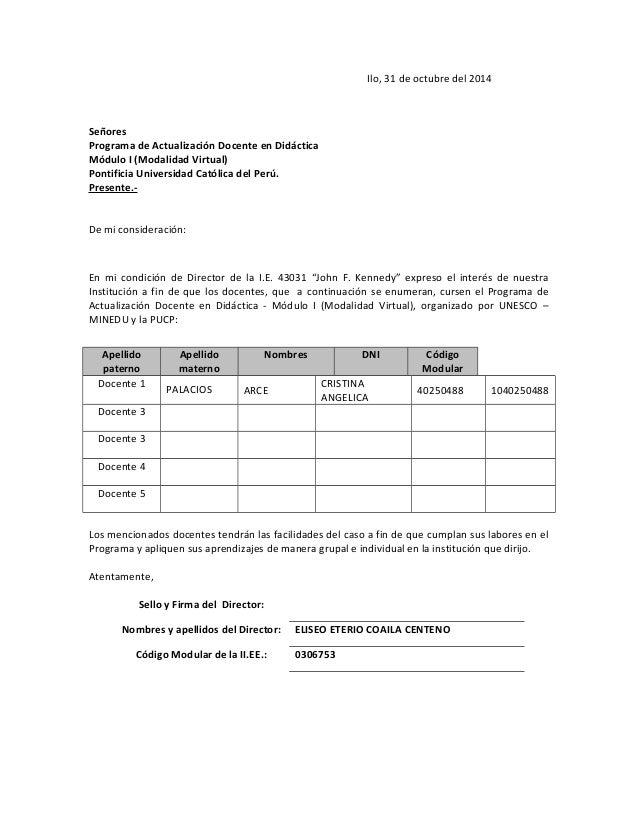Ilo, 31 de octubre del 2014 Señores Programa de Actualización Docente en Didáctica Módulo I (Modalidad Virtual) Pontificia...
