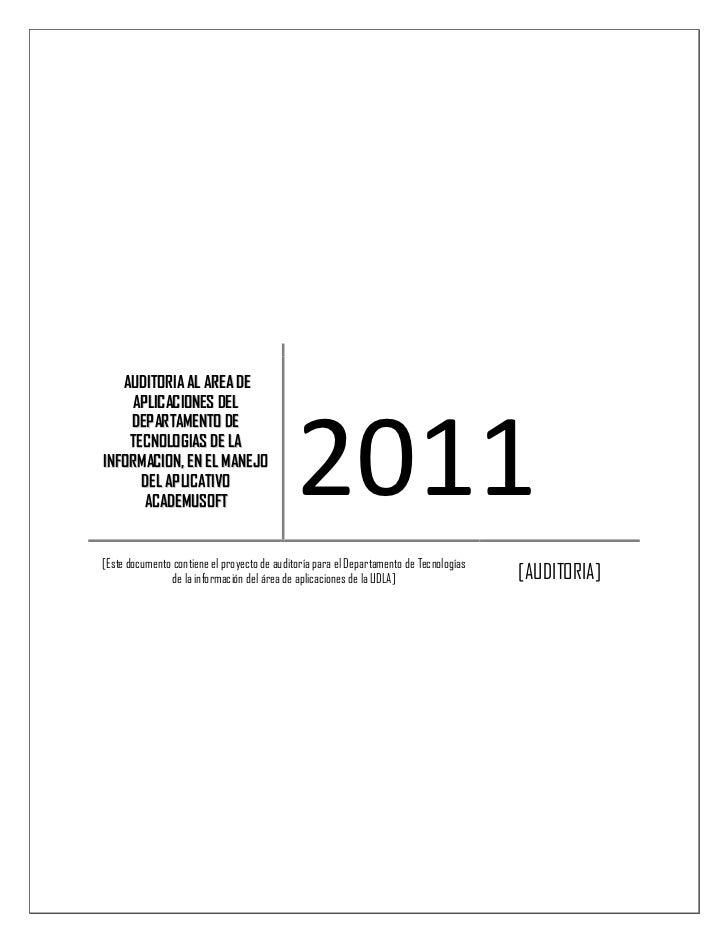 AUD ITORIA AL ARE A DE     AP LIC ACIONES DE L                                             2011    DEP AR TAM ENTO DE    T...