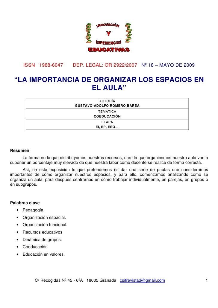 """ISSN 1988-6047           DEP. LEGAL: GR 2922/2007 Nº 18 – MAYO DE 2009  """"LA IMPORTANCIA DE ORGANIZAR LOS ESPACIOS EN      ..."""