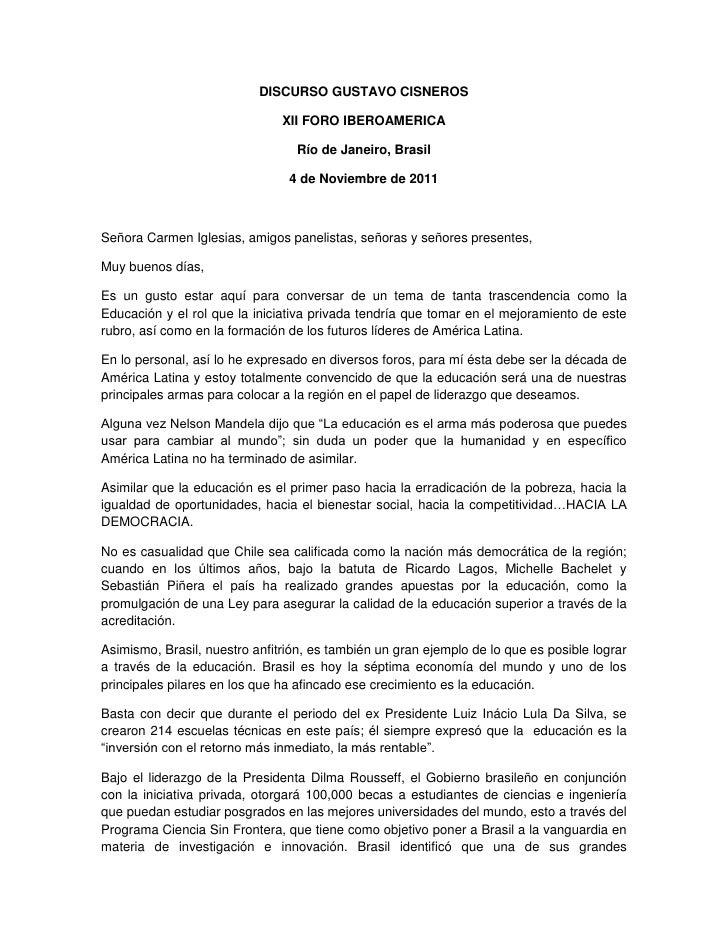 DISCURSO GUSTAVO CISNEROS                               XII FORO IBEROAMERICA                                 Río de Janei...