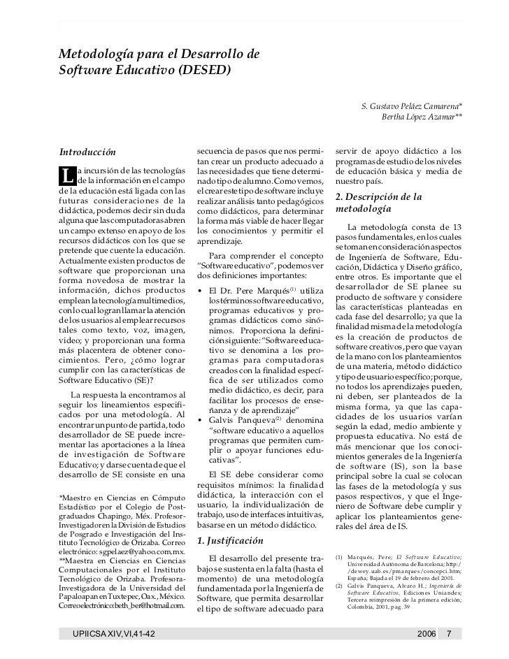 Metodología para el Desarrollo de Software Educativo (DESED)   Metodología para el Desarrollo de Software Educativo (DESED...