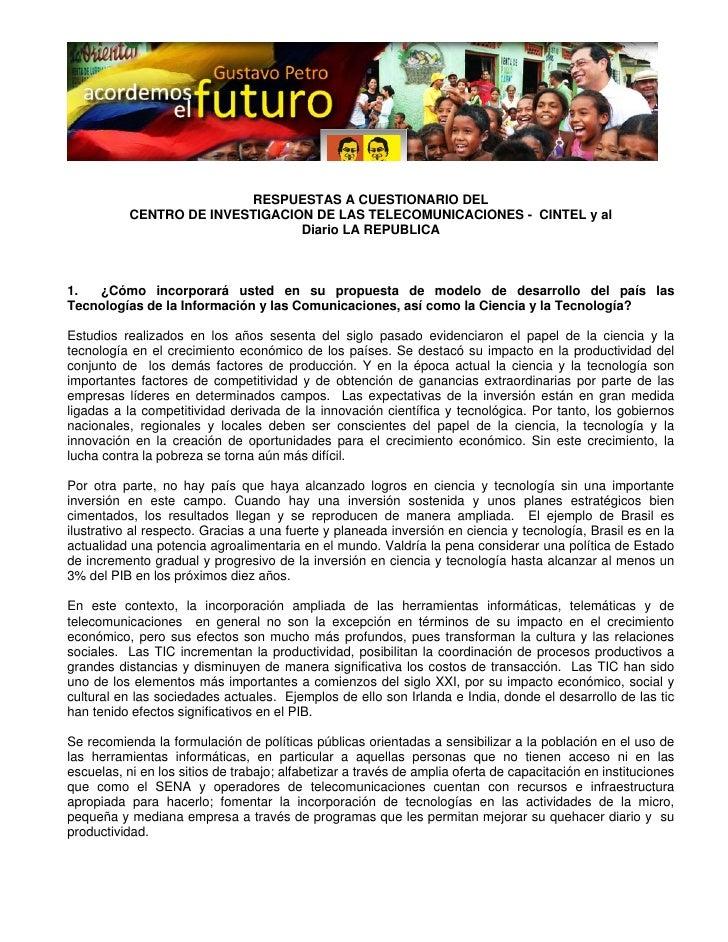 RESPUESTAS A CUESTIONARIO DEL            CENTRO DE INVESTIGACION DE LAS TELECOMUNICA...