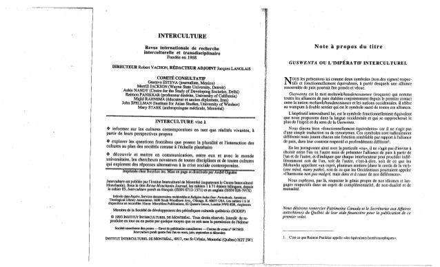 Guswenta ou l'imperatif interculturel 1 robert vachon Slide 2