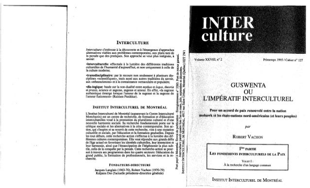 Guswenta ou l'imperatif interculturel 1 robert vachon