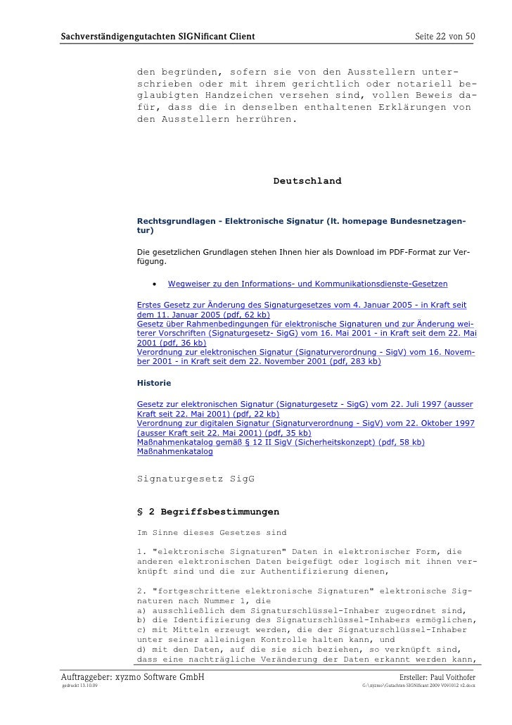 Gutachten zur Nutzung von SIGNificant