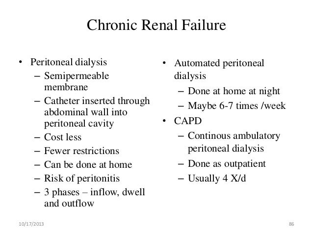 anemia in continous ambulatory peritoneal dialysis nursing essay Ambulatory peritoneal dialysis (capd) and regular hemodialysis treat- ment ( rdt) serum  in the mechanism of the anemia of chronic renal failure includ.