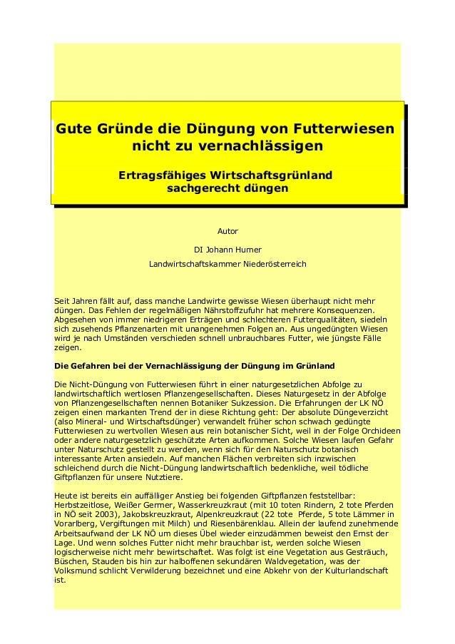 Gute Gründe die Düngung von Futterwiesen nicht zu vernachlässigen Ertragsfähiges Wirtschaftsgrünland sachgerecht düngen  A...
