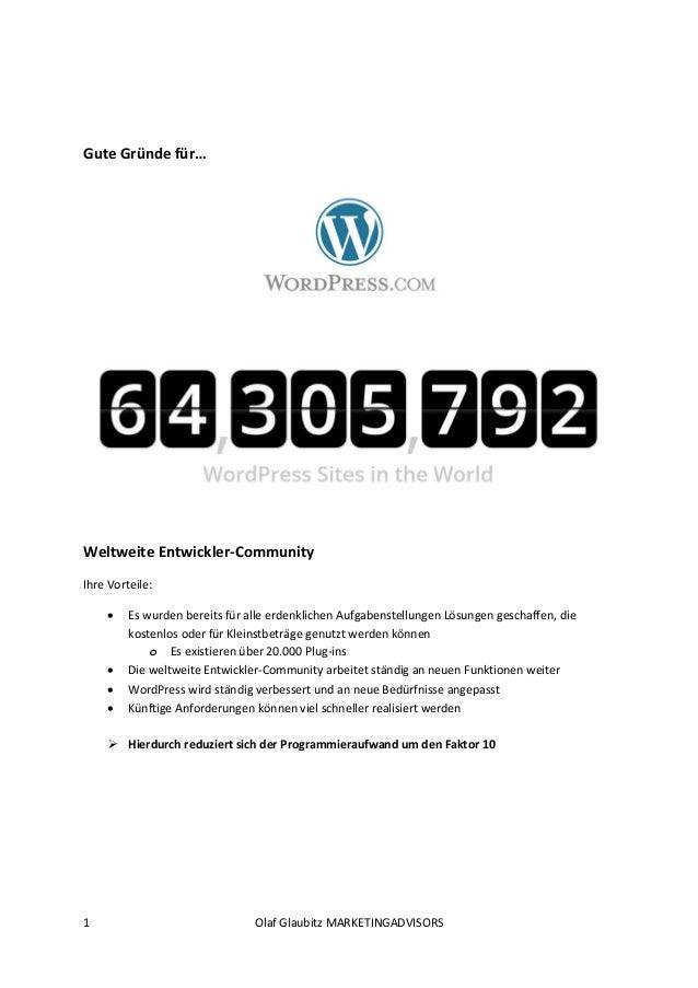 1 OlafGlaubitzMARKETINGADVISORS    GuteGründefür…     WeltweiteEntwickler‐Community IhreVorteile:  Esw...