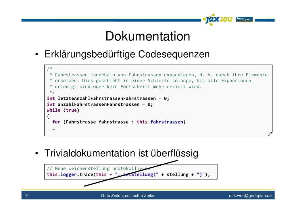 Dokumentation     • Erklärungsbedürftige Codesequenzen       /*        * Fahrstrassen innerhalb von Fahrstrassen expandier...