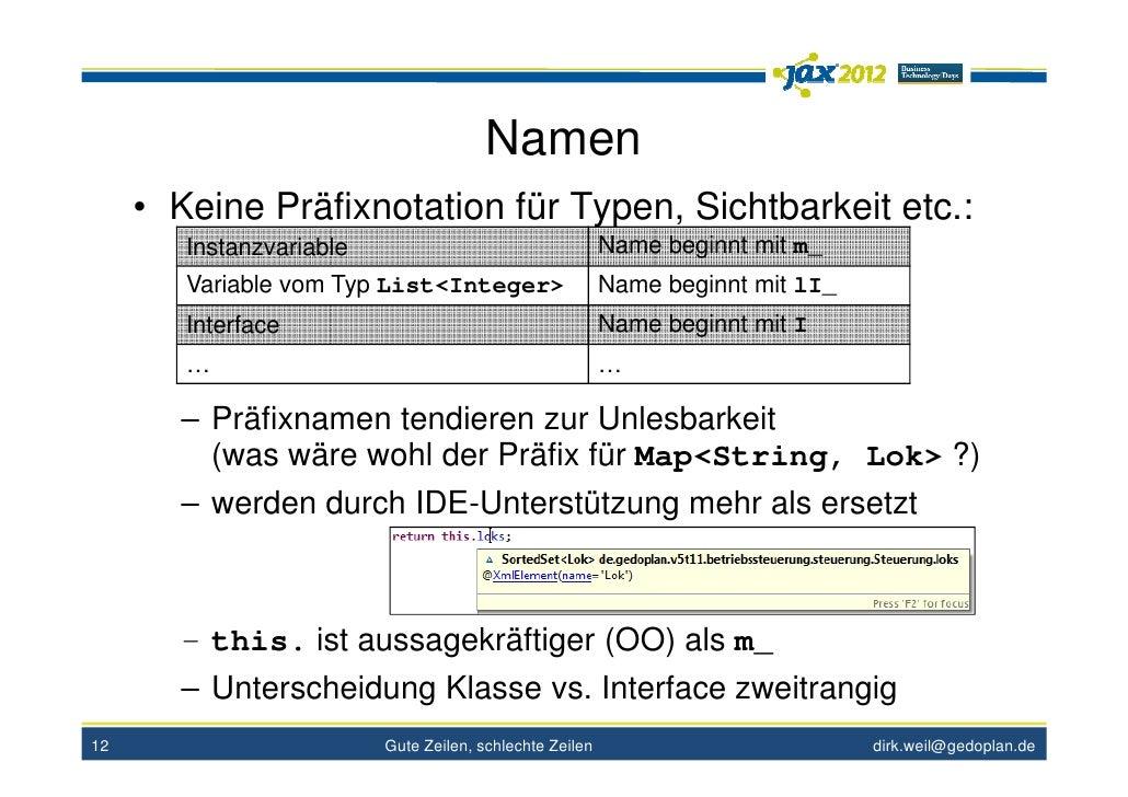 Namen     • Keine Präfixnotation für Typen, Sichtbarkeit etc.:        Instanzvariable                                   Na...