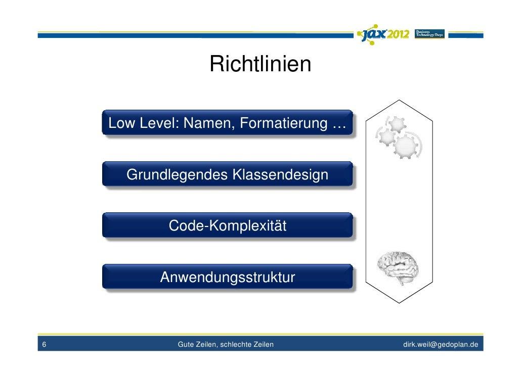 Richtlinien    Low Level: Namen, Formatierung …      Grundlegendes Klassendesign            Code-Komplexität          Anwe...