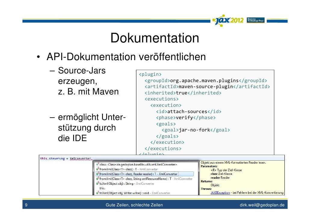 Dokumentation    • API-Dokumentation veröffentlichen      – Source-Jars                <plugin>        erzeugen,          ...