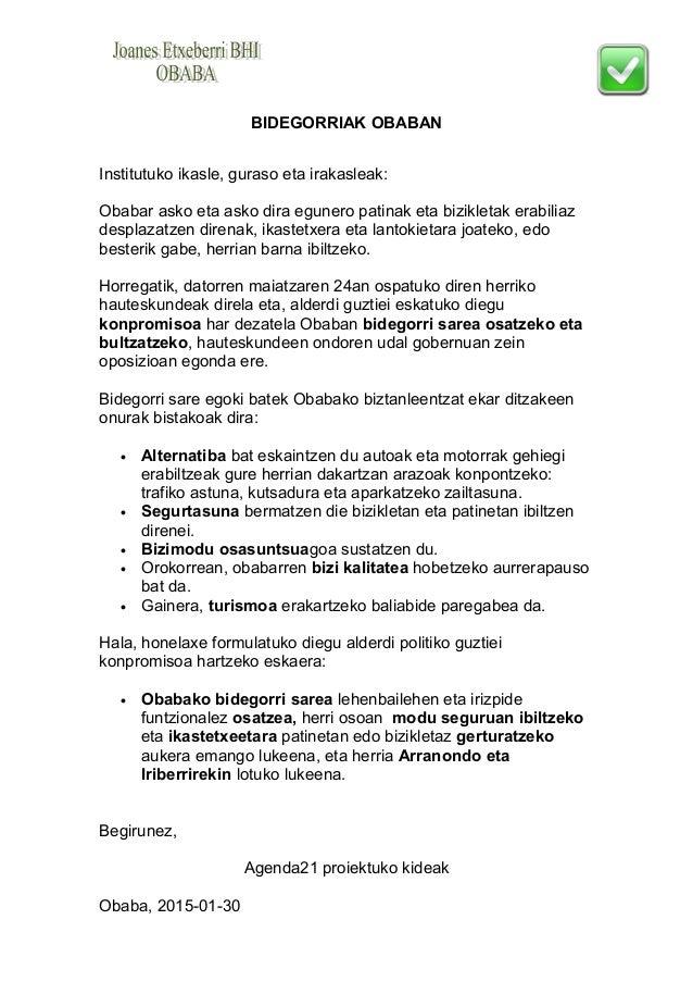 BIDEGORRIAK OBABAN Institutuko ikasle, guraso eta irakasleak: Obabar asko eta asko dira egunero patinak eta bizikletak era...