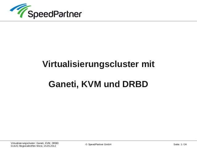 Virtualisierungscluster: Ganeti, KVM, DRBD GUUG Regionaltreffen West, 15.05.2012 Seite: 1 / 24© SpeedPartner GmbH Virtuali...