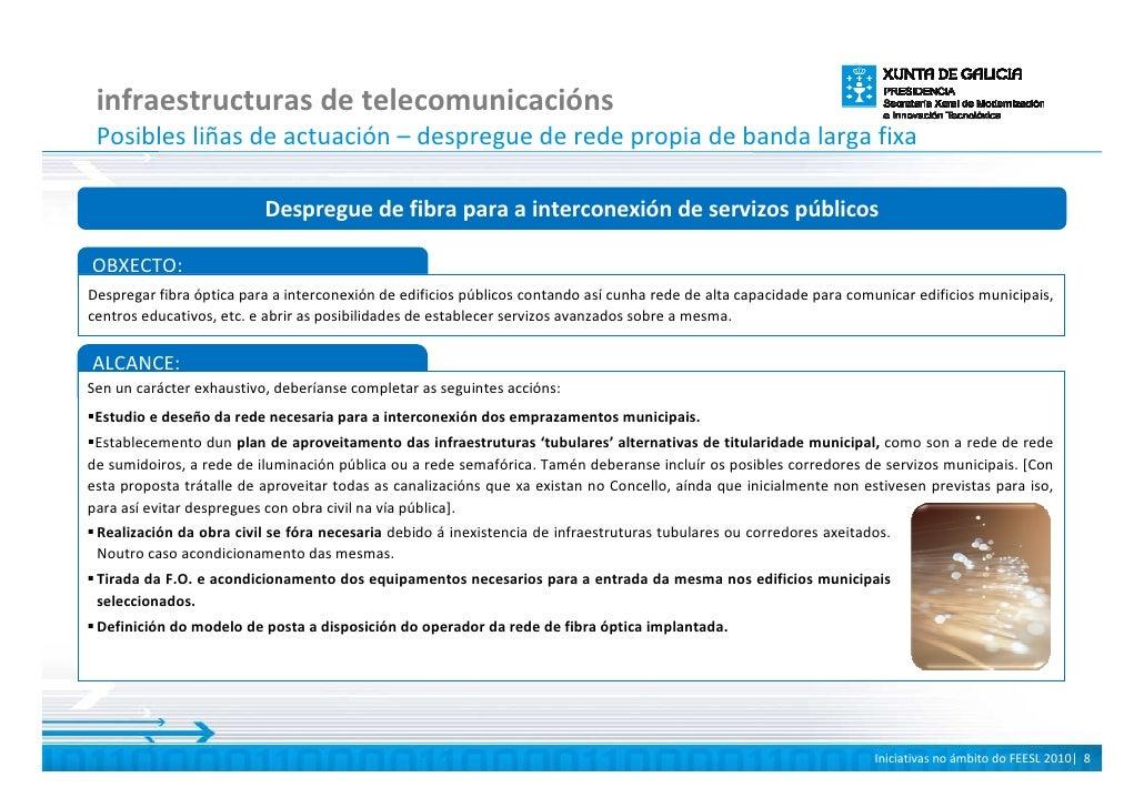 infraestructuras de telecomunicacións  Posibles liñas de actuación – despregue de rede propia de banda larga fixa         ...