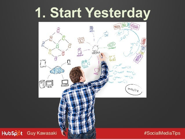 1. Start Yesterday  Guy Kawasaki!  #SocialMediaTips!