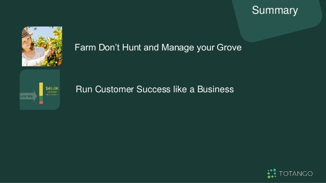 Farm Don't Hunt and Manage your Grove Summary Portfolio Management is the Operating Mode Run Customer Success like a Busin...