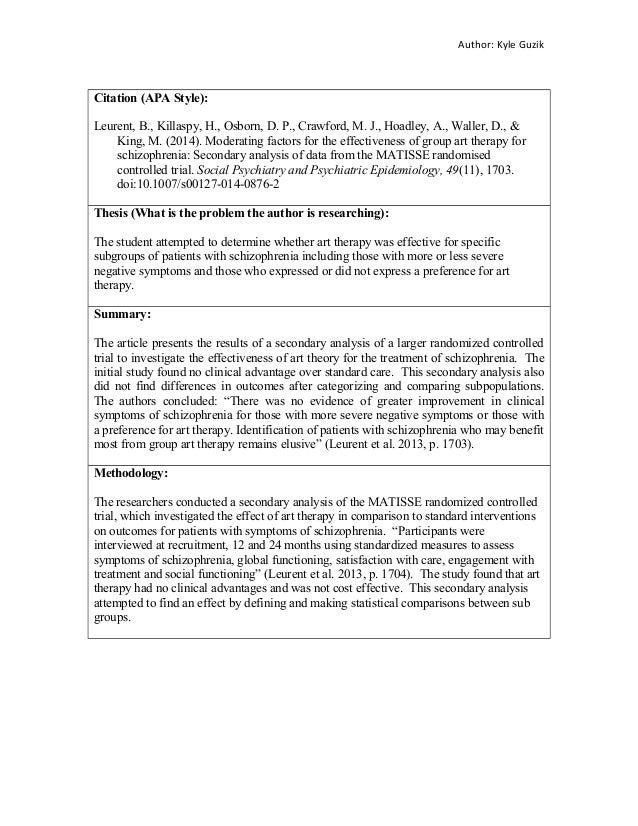 annotated bibliography on schizophrenia View homework help - psych 665 annotated bibliography from psych 665 at university of phoenix running head: annotated bibliography annotated bibliography crystal samon university of.