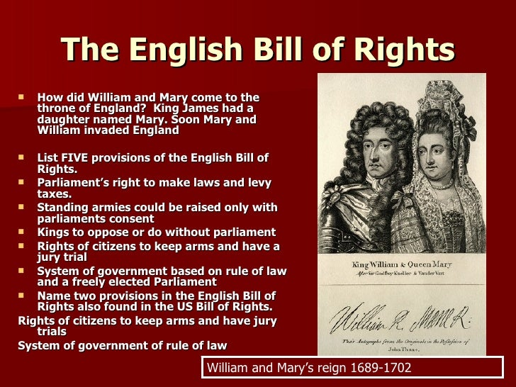what did the english bill of rights do in 1689