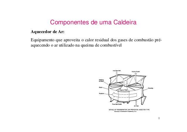 1Componentes de uma CaldeiraAquecedor de Ar:Equipamento que aproveita o calor residual dos gases de combustão pré-aquecend...