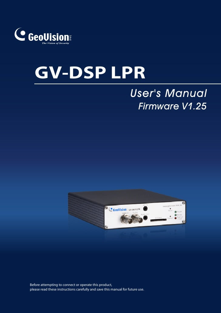 GV-DSP LPR                                                                    User's Manual                               ...