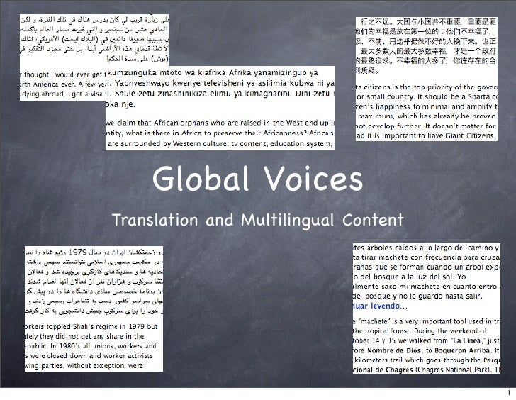 Global Voices Translation and Multilingual Content                                            1