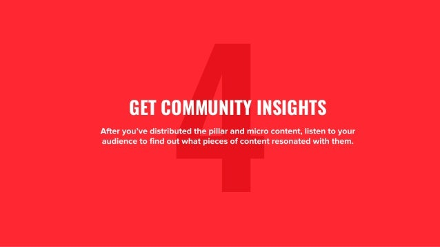 1. 4After you've distributed the pillar and micro content, listen to your audience to find out what pieces of content reso...
