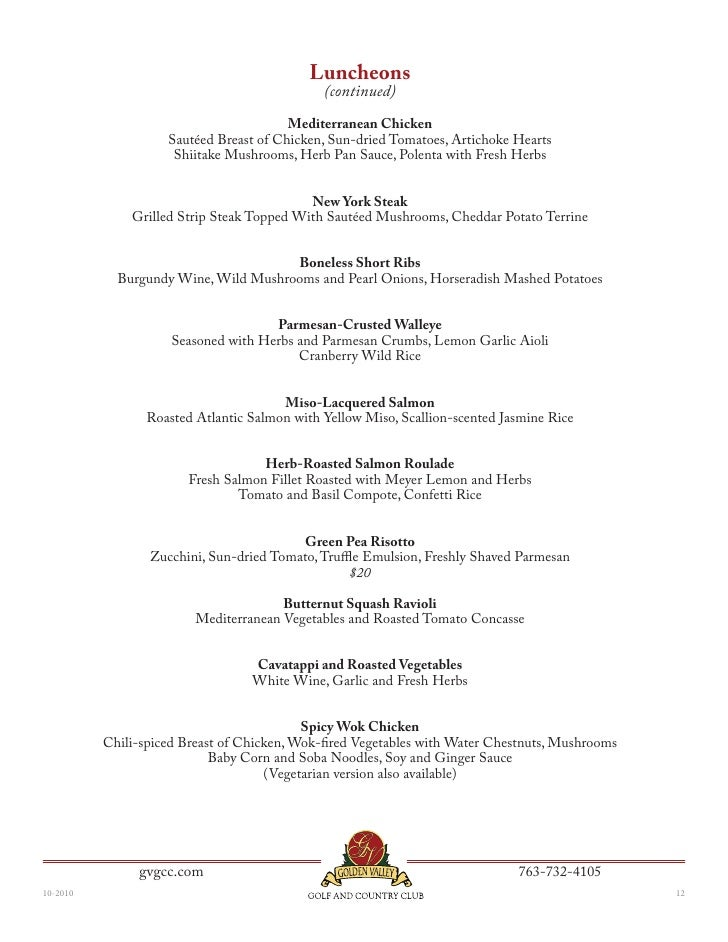 Golden Valley Golf and Country Clubs Corporate Banquet Menu – Banquet Menu Template