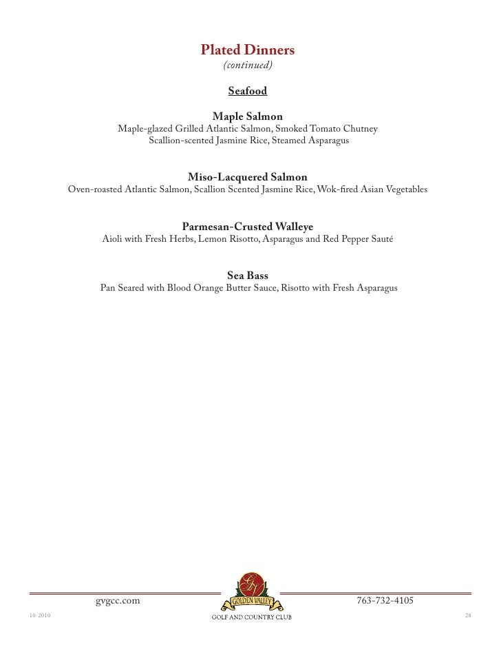 Golden Valley Golf And Country Club S Corporate Banquet Menu