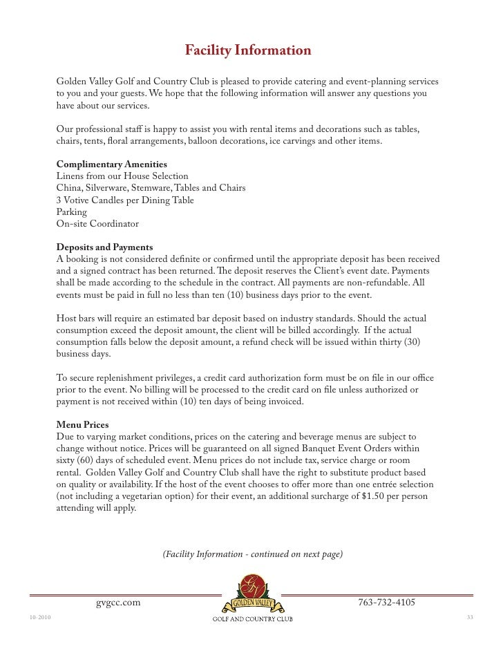 Golden Valley Golf And Country Clubs Social Banquet Menu