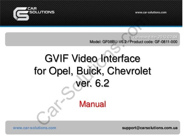 co m  io ns .  Release date: 2012.02.04 Model: GF08BU-V6.2 / Product code: GF-0811-000  C ar -S  ol ut  GVIF Video Interfa...