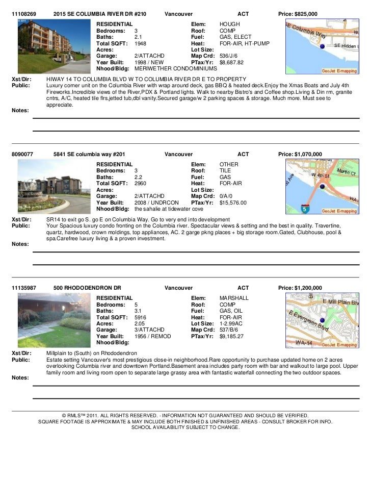 11108269        2015 SE COLUMBIA RIVER DR #210                Vancouver                     ACT              Price: $825,0...