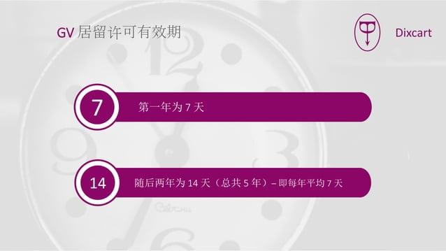 第一年为 7 天7 随后两年为 14 天(总共 5 年)– 即每年平均 7 天14 GV 居留许可有效期 Dixcart