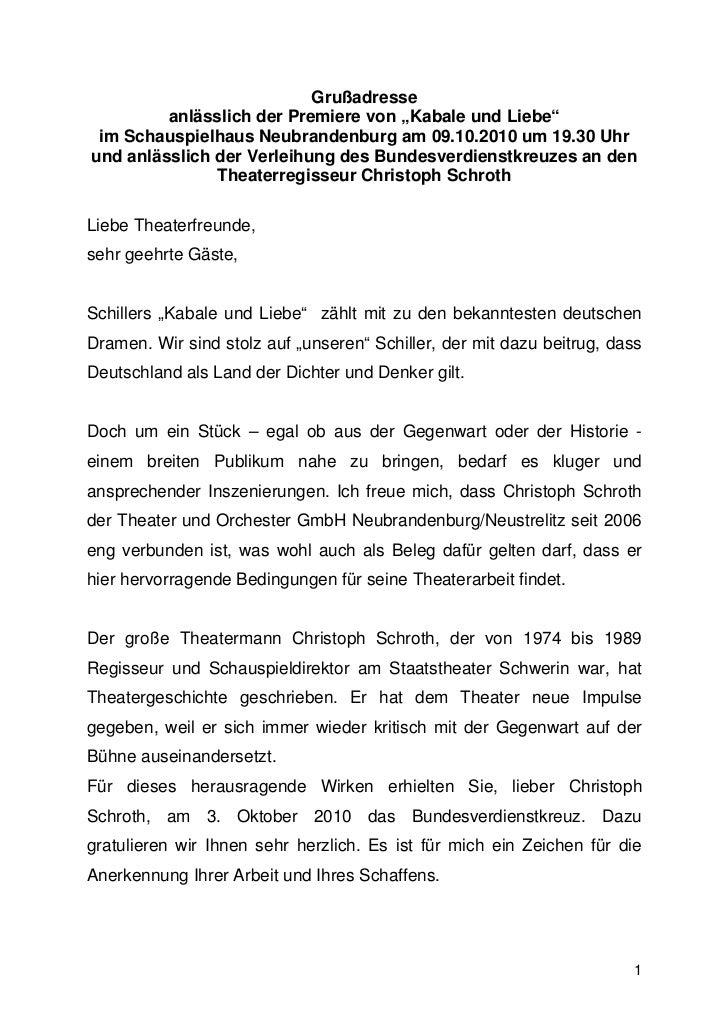 """Grußadresse         anlässlich der Premiere von """"Kabale und Liebe"""" im Schauspielhaus Neubrandenburg am 09.10.2010 um 19.30..."""