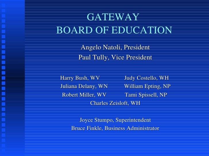 GATEWAY  BOARD OF EDUCATION <ul><li>Angelo Natoli, President </li></ul><ul><li>Paul Tully, Vice President </li></ul><ul><l...