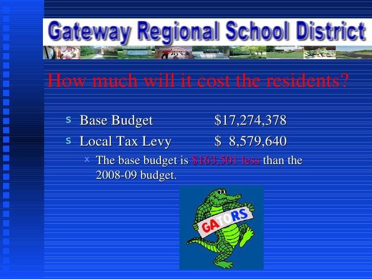 How much will it cost the residents? <ul><li>Base Budget  $17,274,378 </li></ul><ul><li>Local Tax Levy $  8,579,640 </li><...
