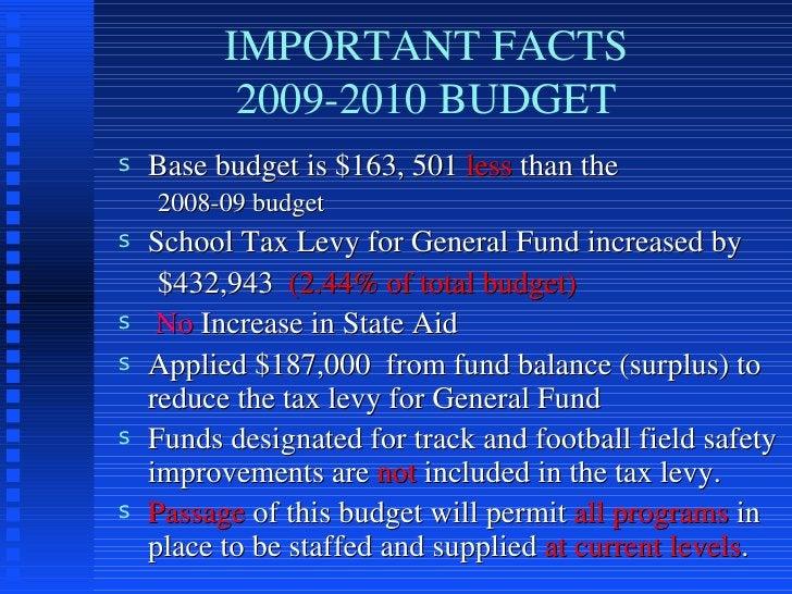IMPORTANT FACTS 2009-2010 BUDGET <ul><li>Base budget is $163, 501  less  than the  </li></ul><ul><ul><li>2008-09 budget </...
