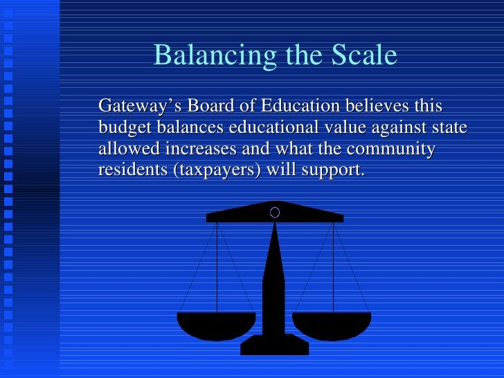 Balancing the Scale <ul><li>Gateway's Board of Education believes this budget balances educational value against state all...